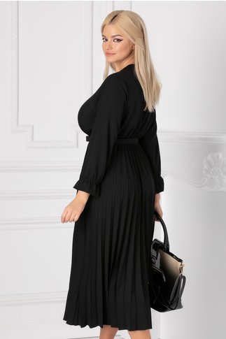Rochie Ametista neagra cu decolteu petrecut si fusta plisata