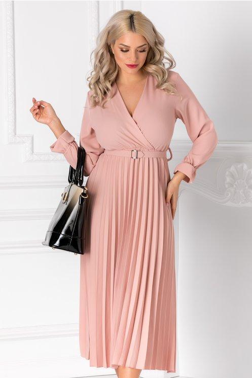 Rochie Ametista roz cu decolteu petrecut si fusta plisata