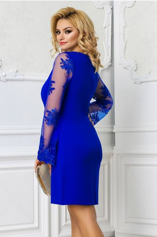 Rochie Ami albastra cu maneci evazate din dantela