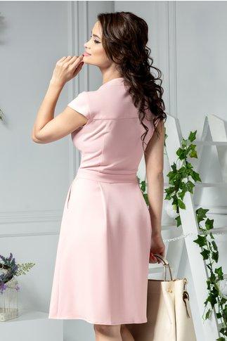 Rochie Ami roz midi cu nasturi