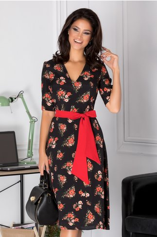 Rochie Amina midi neagra cu floricele corai