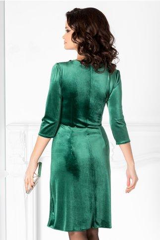 Rochie Amina verde deschis din catifea cu guler din margele