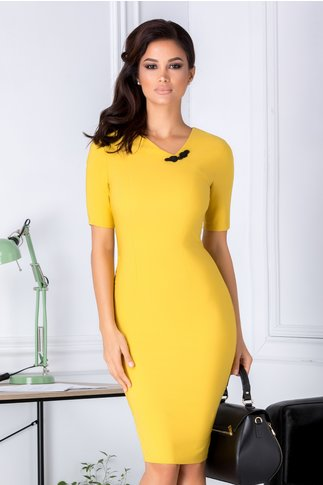 Rochie Aminia galben mustar conica eleganta