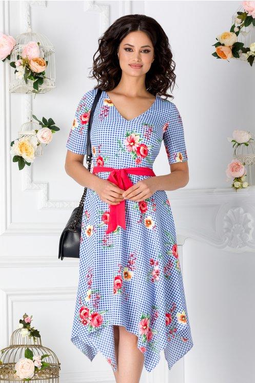 Rochie Amira bleu cu imprimeu floral si carouri