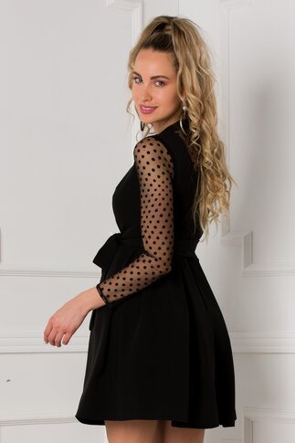 Rochie Amira neagra cu insertii din tull si buline catifelate