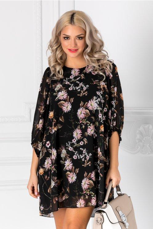 Rochie Amity neagra cu imprimeu floral