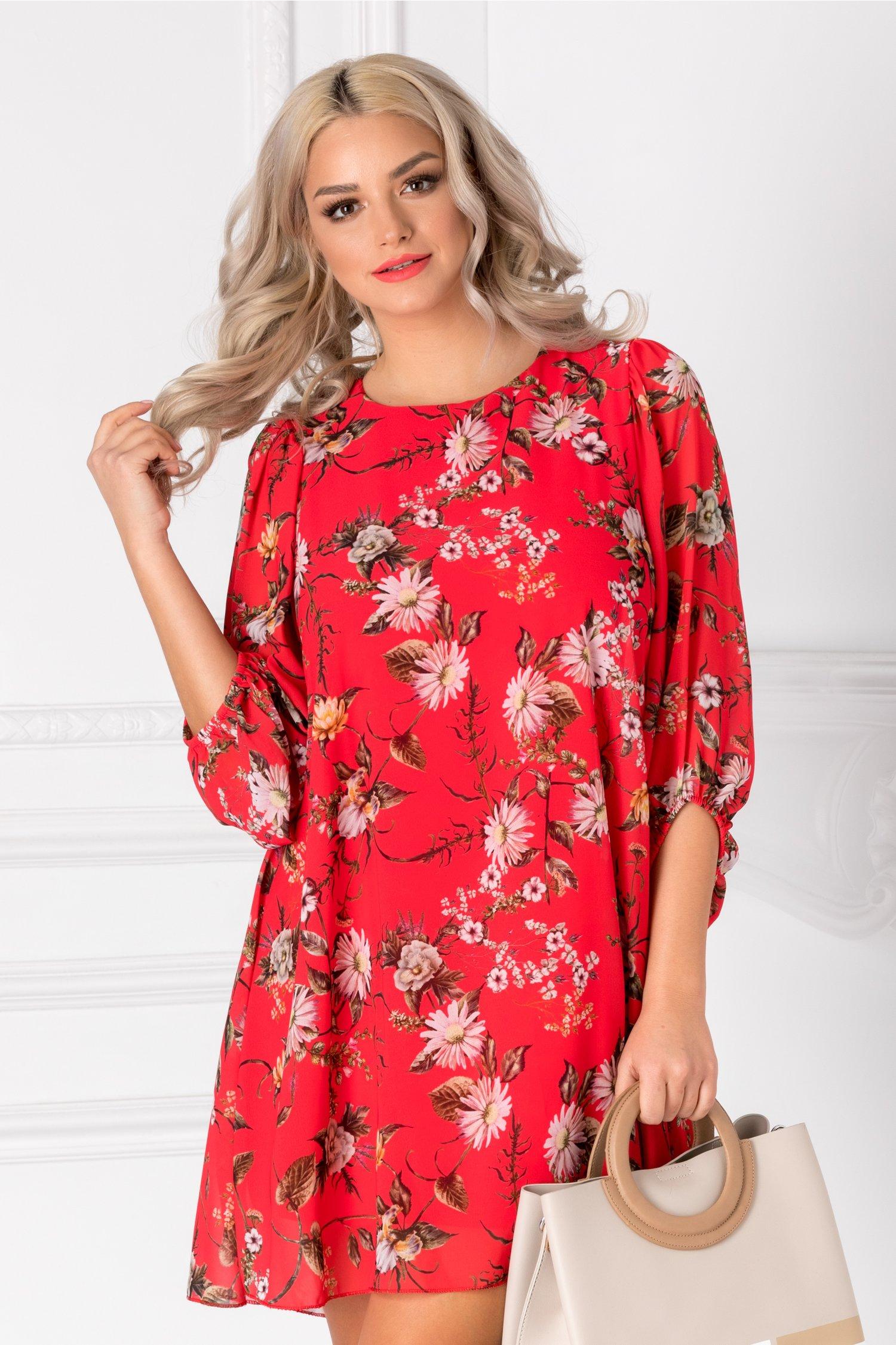 Rochie Amity rosie cu imprimeu floral