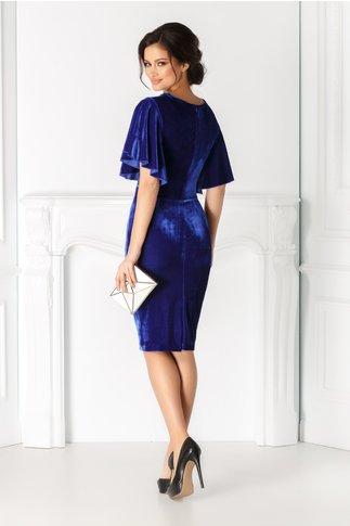 Rochie Ana albastra din catifea cu aplicatie pretioasa la guler