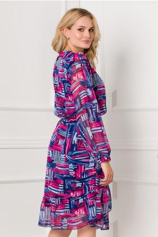 Rochie Ana bleumarin cu roz si imprimeuri geometrice