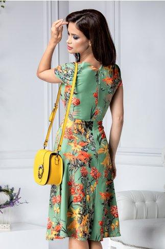 Rochie Anabelle verde cu imprimeu floral colorat