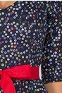 Rochie Anais bleumarin cu buline colorate si cordon in talie