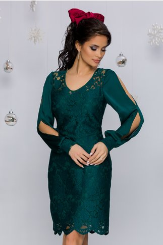 Rochie Anais verde cu broderie florala
