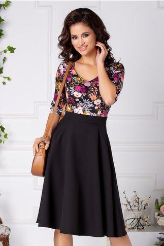 Rochie Anaisa clos neagra cu flori colorate