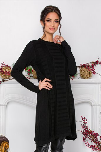 Rochie Analis neagra cu model in relief