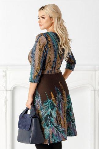 Rochie Anastasia maro cu imprimeuri colorate