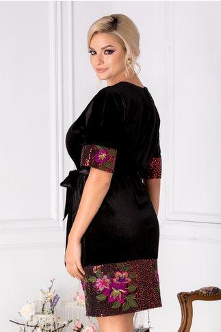 Rochie Anastasia neagra din catifea cu imprimeu floral si paiete