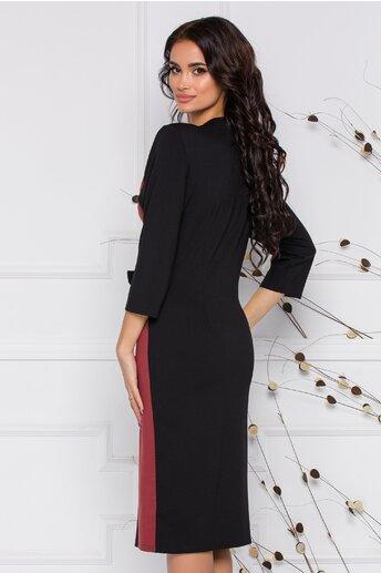 Rochie Anastasia negru cu caramiziu si design petrecut