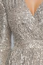 Rochie Anastasia petrecuta bej cu paiete argintii