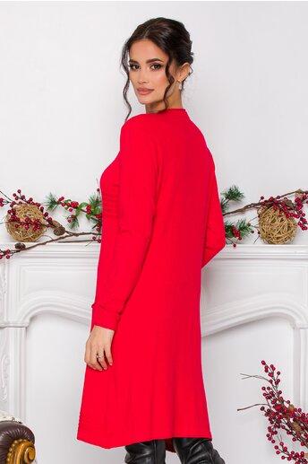 Rochie Anastasia rosie cu design in dungi si buzunare