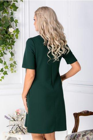 Rochie Anastasia verde inchis cu decupaje si aplicatii la guler