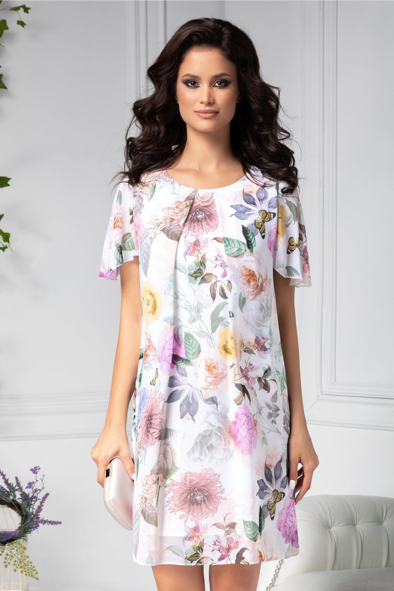 Rochie Anca cu imprimeu floral colorat si perute la guler