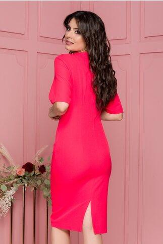 Rochie Anca rosu zmeura cu nasturi decorativi