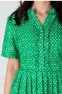 Rochie Anca verde cu buline si volanase
