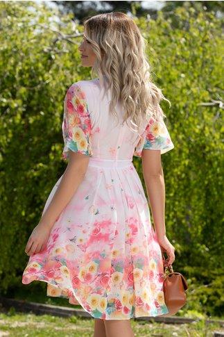 Rochie Anda roz pal din voal cu imprimeu floral si fluturi