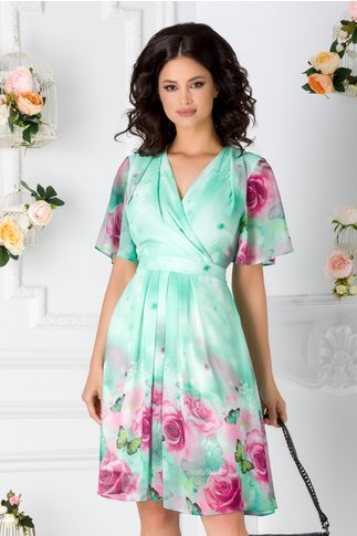Rochie Anda verde deschis din voal cu imprimeu floral colorat