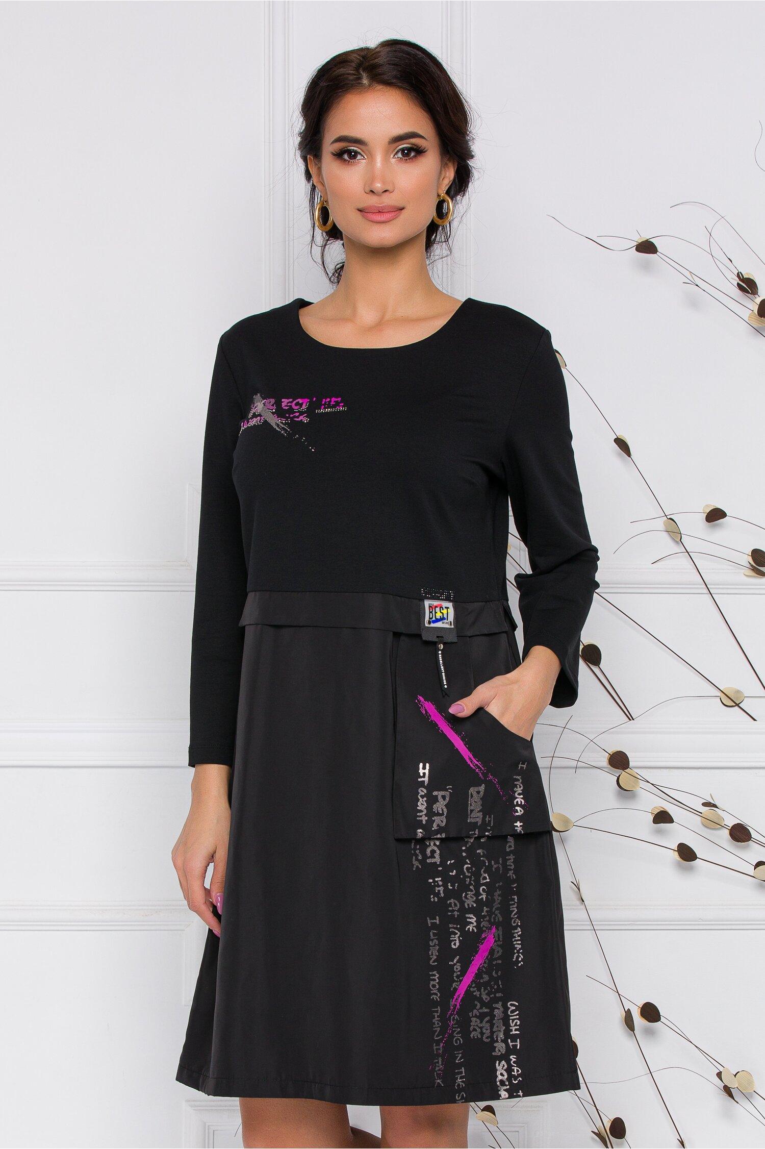 Rochie Andia neagra cu imprimeu lila