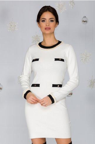 Rochie Andie ivoire cu aplicatii albe tip buzunare