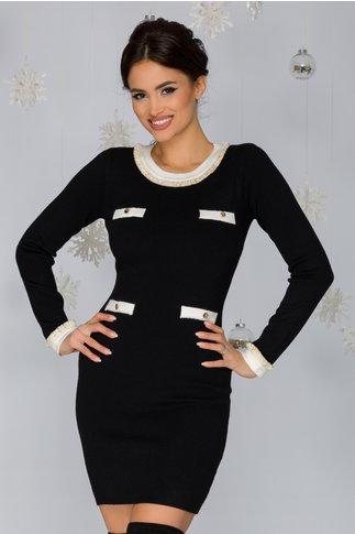 Rochie Andie neagra cu aplicatii albe tip buzunare