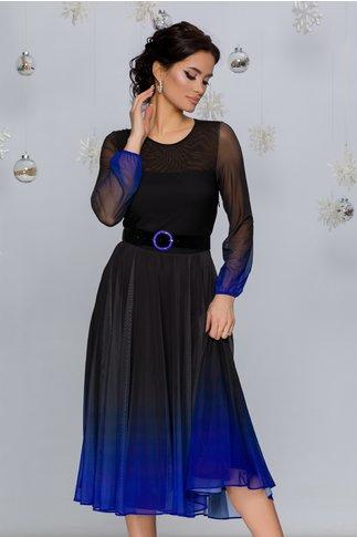 Rochie Andra midi negru cu albastru in degrade stil ombre
