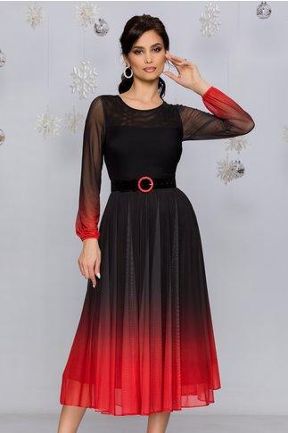 Rochie Andra midi negru cu caramiziu in degrade stil ombre