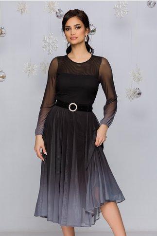 Rochie Andra midi negru cu gri in degrade stil ombre