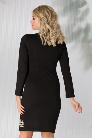 Rochie Andra neagra cu broderie ivoire si grena