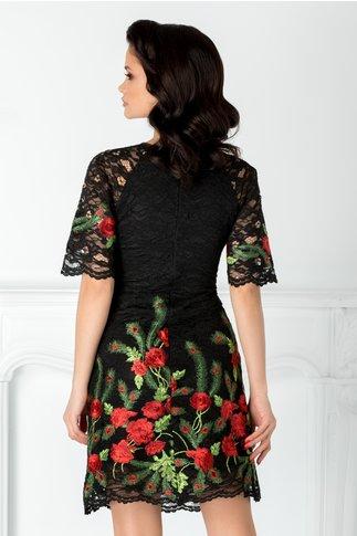 Rochie Andra neagra din dantela cu broderie florala