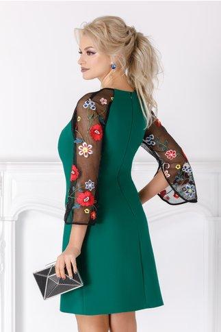 Rochie Andrea verde cu maneci brodate floral