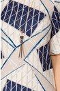 Rochie Andreea bej cu bleumarin si imprimeuri geometrice