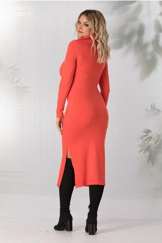 Rochie Andreea corai tricotata cu guler maxi