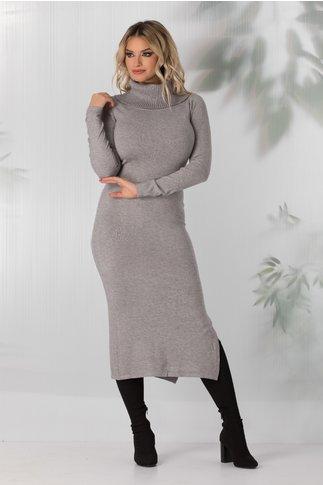 Rochie Andreea gri tricotata cu guler maxi