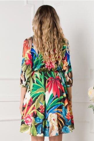Rochie Andreea neagra cu imprimeu tropical colorat