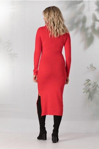 Rochie Andreea rosie tricotata cu guler maxi