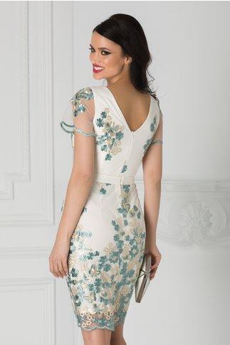 Rochie Anelie ivoire cu broderie florala si cordon in talie