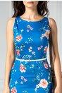 Rochie Anemona albastra conica midi cu flori