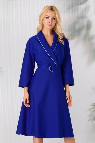 Rochie Anemona office albastra cu rever maxi