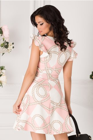 Rochie Anemona roz cu imprimeu divers si decolteu petrecut