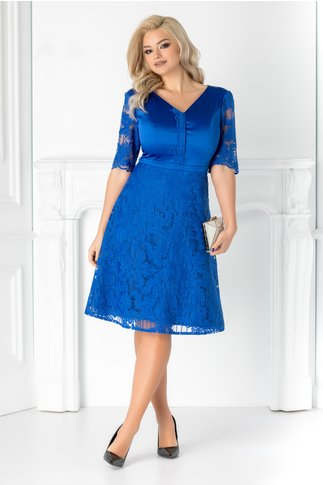 Rochie Aneta albastra din tafta si dantela