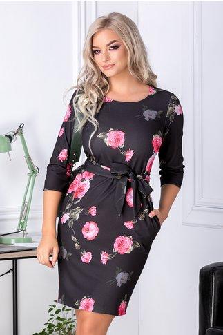 Rochie Angela neagra cu trandafiri roz