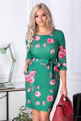 Rochie Angela verde cu trandafiri roz